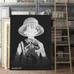 Boutique One Piece Poster 55 x 80cm Poster en Noir et Blanc One Piece Luffy au Chapeau de Paille