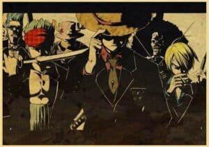 Boutique One Piece Poster 12x20cm Poster One Piece l'Équipage du Chapeau de Paille en Costume