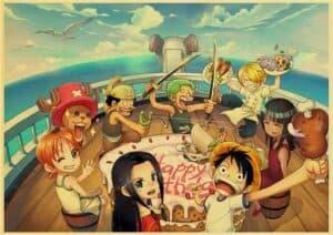 Boutique One Piece Poster 12x20cm Poster One Piece l'Équipage du Chapeau de Paille sur Le Vogue Merry