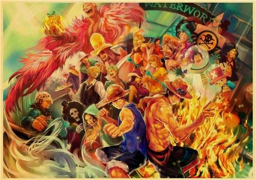 Boutique One Piece Poster 60x85cm Poster One Piece Luffy et Ace à Marine Ford