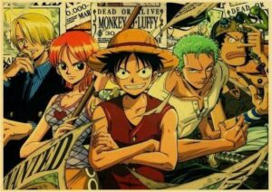 Boutique One Piece Poster 12x20 cm Poster One Piece Luffy, Zoro, Sanji, Usopp, Nami Wanted