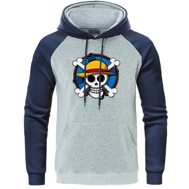 Boutique One Piece Sweat Bleu Gris / XL Sweat One Piece l'Emblème des Mugiwara