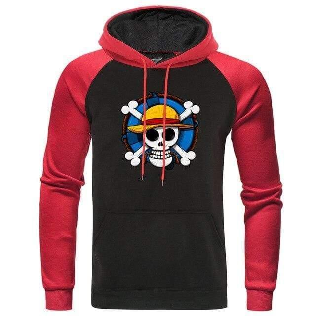 Boutique One Piece Sweat Rouge Noir / XXL Sweat One Piece l'Emblème des Mugiwara