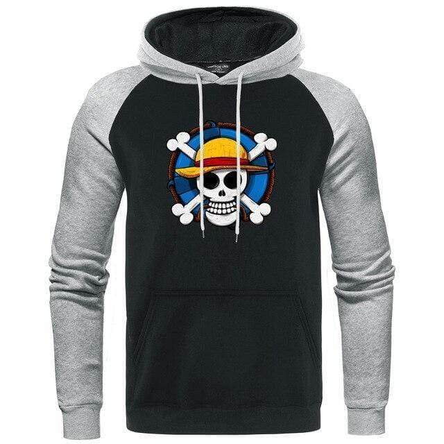 Boutique One Piece Sweat Gris Noir / XXL Sweat One Piece l'Emblème des Mugiwara