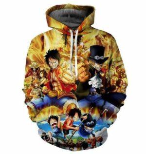 Boutique One Piece Sweat S Sweat One Piece Les 3 Frères Ace Sabo et Luffy