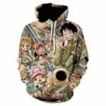 Boutique One Piece Sweat XL Sweat One Piece Les Chapeau De Paille Style Militaire