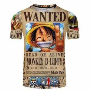 Boutique One Piece T-shirt S T-Shirt One Piece Avis de Recherche Luffy Wanted