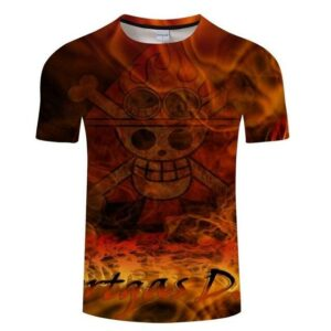 Boutique One Piece T-shirt S T-Shirt One Piece Emblème de Ace aux Poings Ardent