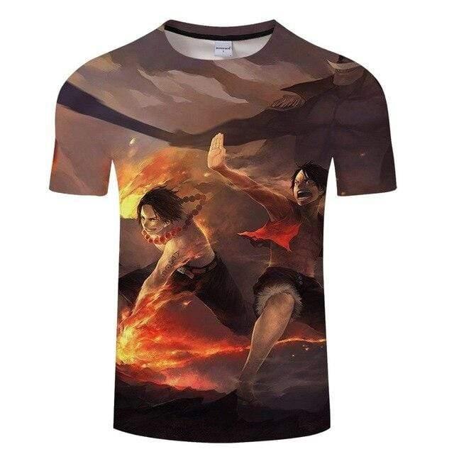 Boutique One Piece T-shirt S T-Shirt One Piece Fan Art Barbe Blanche Ace et Luffy