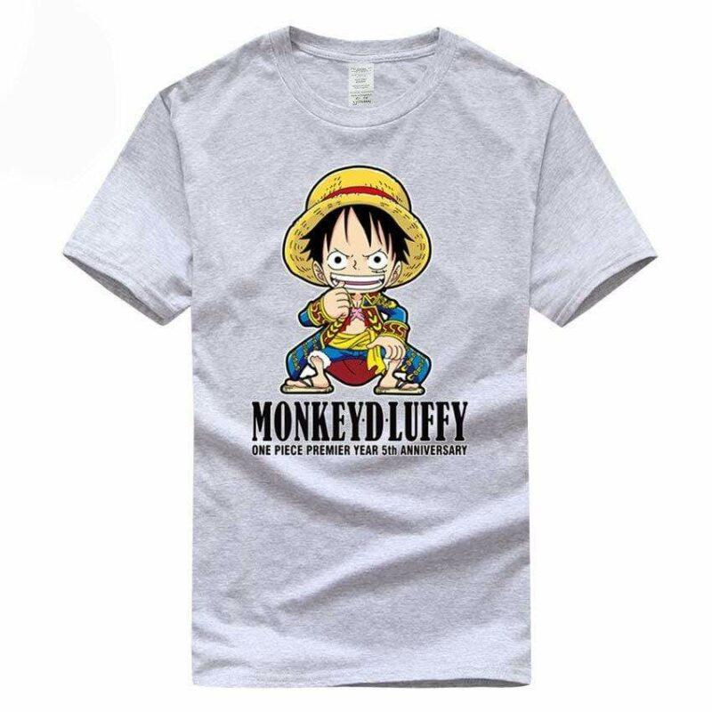 Boutique One Piece T-shirt Gris / S T Shirt One Piece Kawaii Luffy