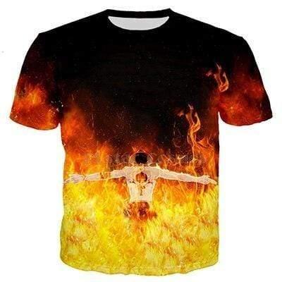 Boutique One Piece T-shirt XXL T Shirt One Piece Le Pirate Ardent Portgas D Ace