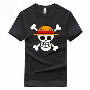 Boutique One Piece T-shirt Noir / S T-Shirt One Piece Logo Des Chapeaux De Paille