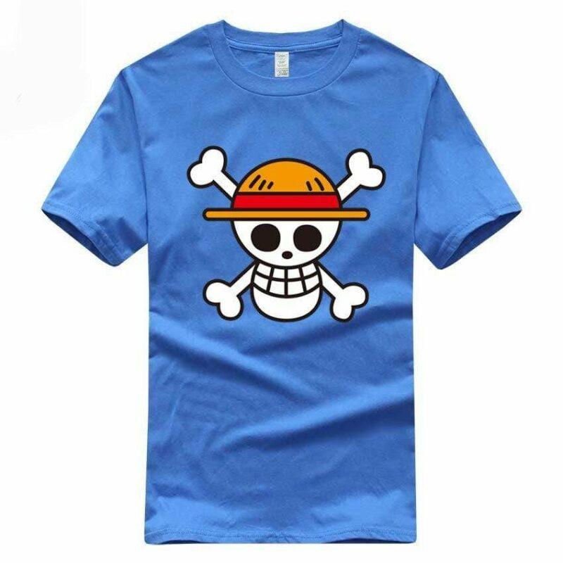 Boutique One Piece T-shirt Bleu / S T-Shirt One Piece Logo Des Chapeaux De Paille