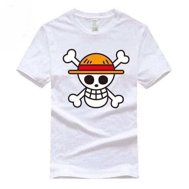 Boutique One Piece T-shirt Blanc / S T-Shirt One Piece Logo Des Chapeaux De Paille