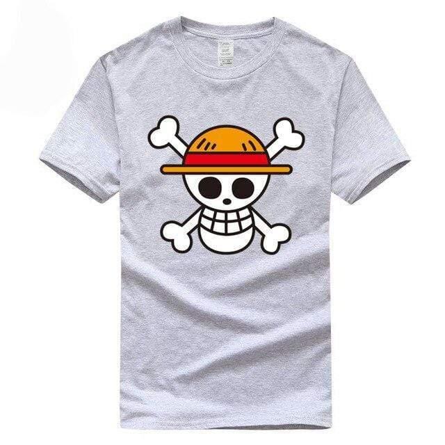 Boutique One Piece T-shirt Gris / XXL T-Shirt One Piece Logo Des Chapeaux De Paille