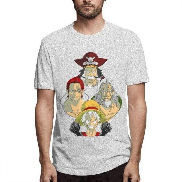 Boutique One Piece T-shirt Gris / M T Shirt One Piece Luffy Gol D Roger Shanks Silvers Rayleigh