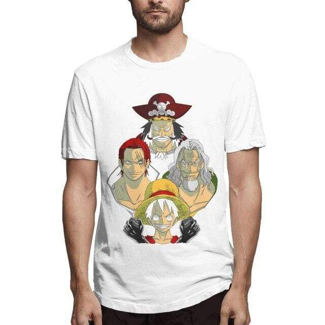 Boutique One Piece T-shirt Blanc / S T Shirt One Piece Luffy Gol D Roger Shanks Silvers Rayleigh