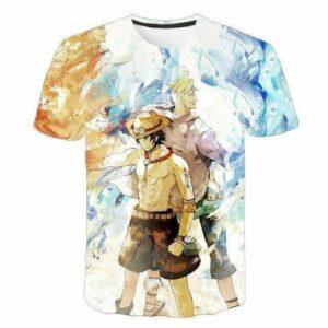 Boutique One Piece T-shirt XXS T-Shirt One Piece Marco et Ace au Poing Ardent