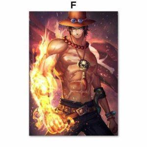 Boutique One Piece Tableau 30x42cm No Frame / HE2981-05 Tableau One Piece Fan Art Ace Aux Poing Ardent